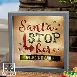 Santa Stop Here LED Light Shadow Box