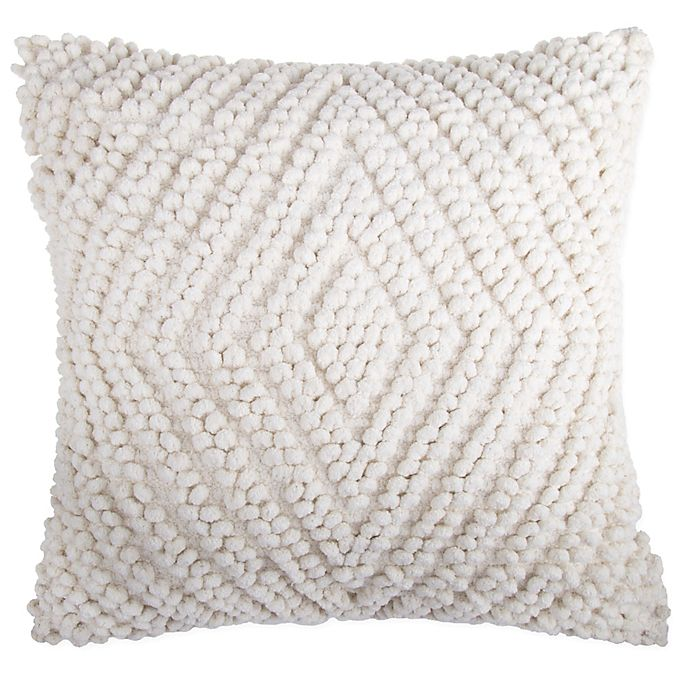 Alternate image 1 for Chenille Diamond Square Throw Pillow in Ivory