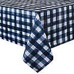 Basics Watercolor Check Printed 60-Inch x 120-Inch Oblong Tablecloth in Navy