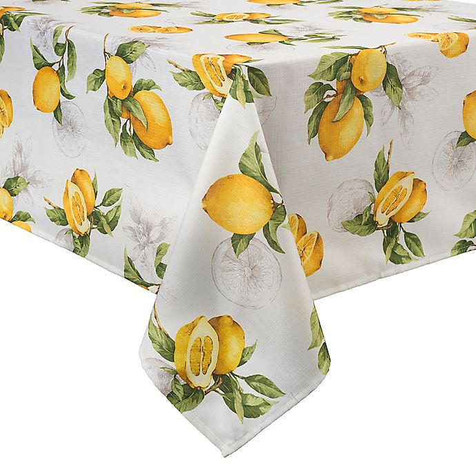 Alternate image 1 for Basics Lemon Printed  60-Inch x 84-Inch Oblong Tablecloth