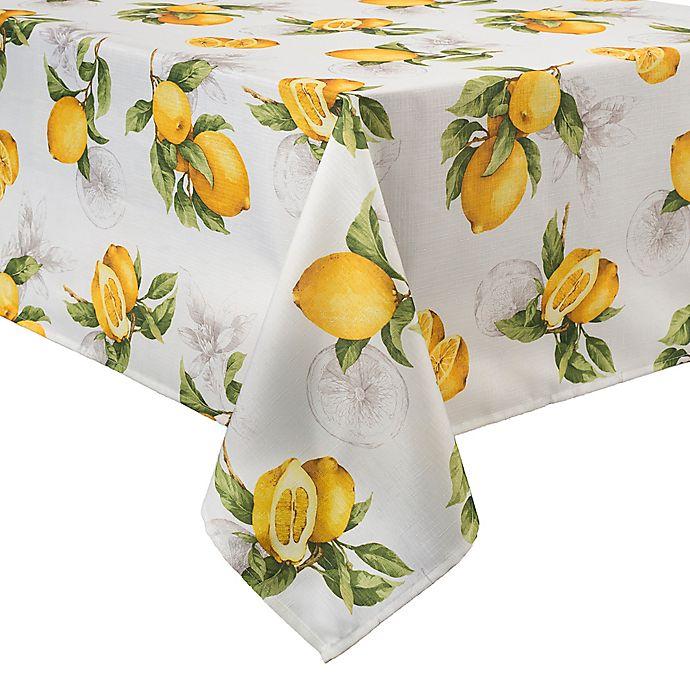 Alternate image 1 for Basics Lemon Printed  60-Inch x 102-Inch Oblong Tablecloth