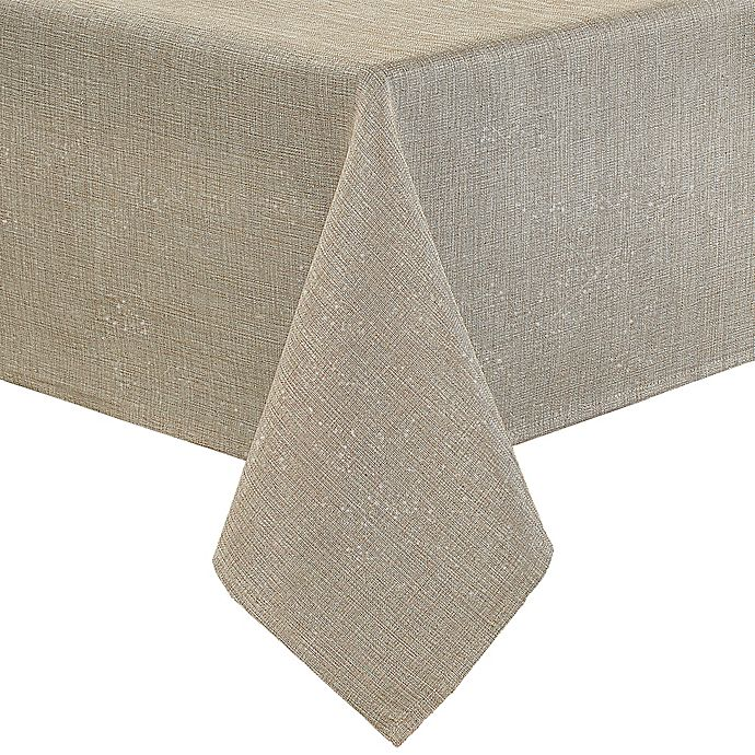 Alternate image 1 for Eclipse Metallic 60-Inch x 84-Inch Oblong Tablecloth in Linen