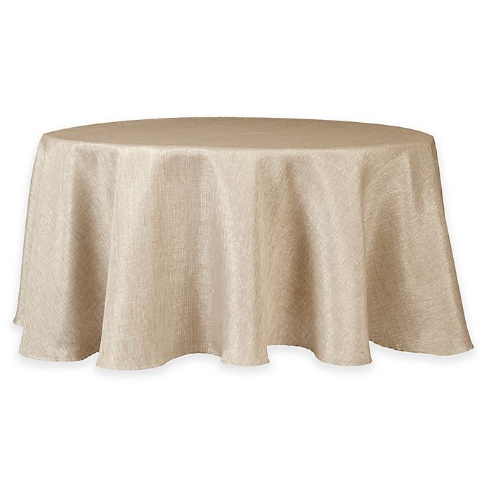 Alternate image 1 for Eclipse Metallic 70-Inch Round Tablecloth in Linen