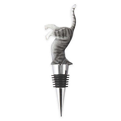 Crazy Cat Wine Stopper in Grey