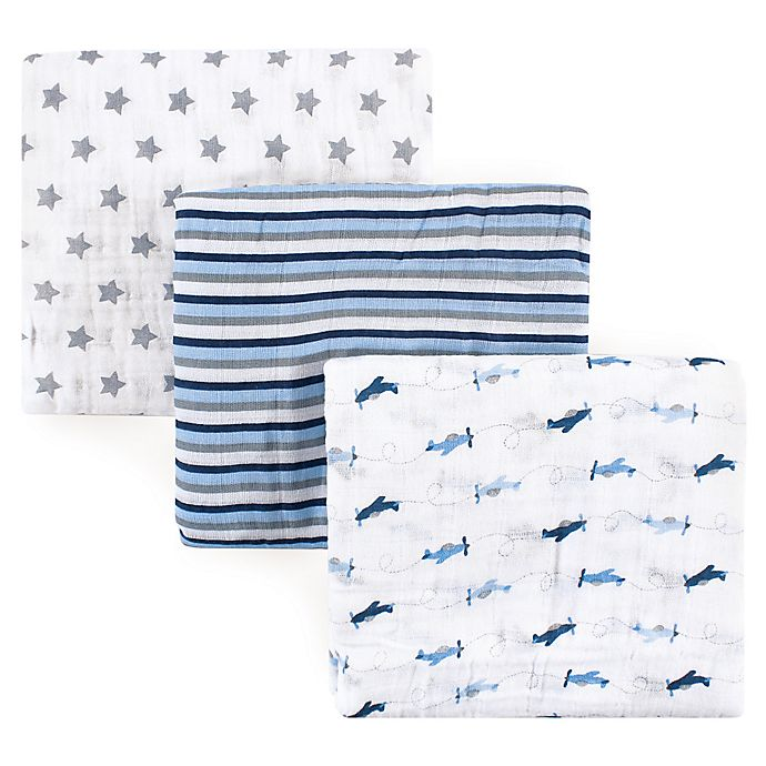 Alternate image 1 for Luvable Friends® Airplane 3-Pack Muslin Swaddle Blankets in Blue