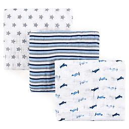 Luvable Friends® Airplane 3-Pack Muslin Swaddle Blankets in Blue