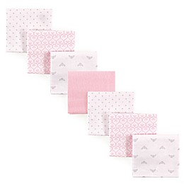 Luvable Friends® 7-Pack Tiara & Hearts Flannel Receiving Blankets in Pink