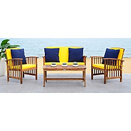 Safavieh Rocklin 4-Piece All-Weather Set in Teak/Yellow
