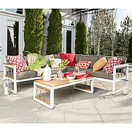 Forest Gate Coastal 4-Piece Outdoor Sectional Chat Set in Grey