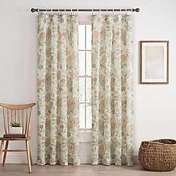 Cassora Skinny Tab Floral Print Window Curtain Panel