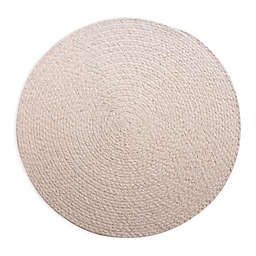 Sparkle Braided Round Placemat in Ivory/Gold