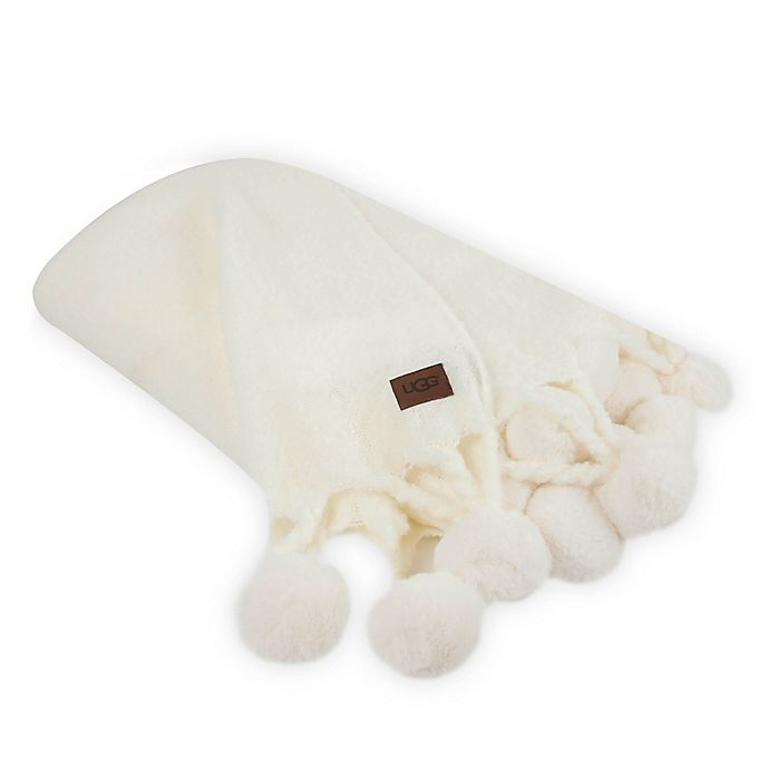 Alternate image 1 for UGG® Cabrillo Pom Pom Throw in Snow