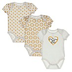 "Sterling Baby Newborn 3-Pack ""Follow Your Heart"" Bodysuits in Ivory/Gold"