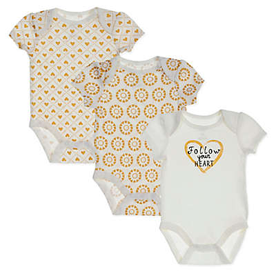 "Sterling Baby 3-Pack ""Follow Your Heart"" Bodysuits in Ivory/Gold"