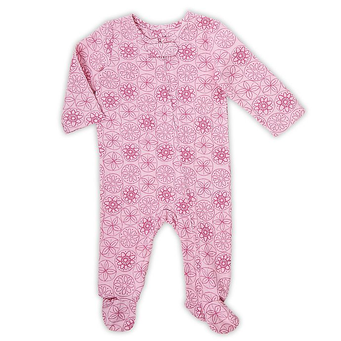 Alternate image 1 for aden® by aden + anais® Pop Floral Footed Coverall in Pink
