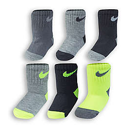 Nike® 6-Pack Volt Socks in Black/Lime