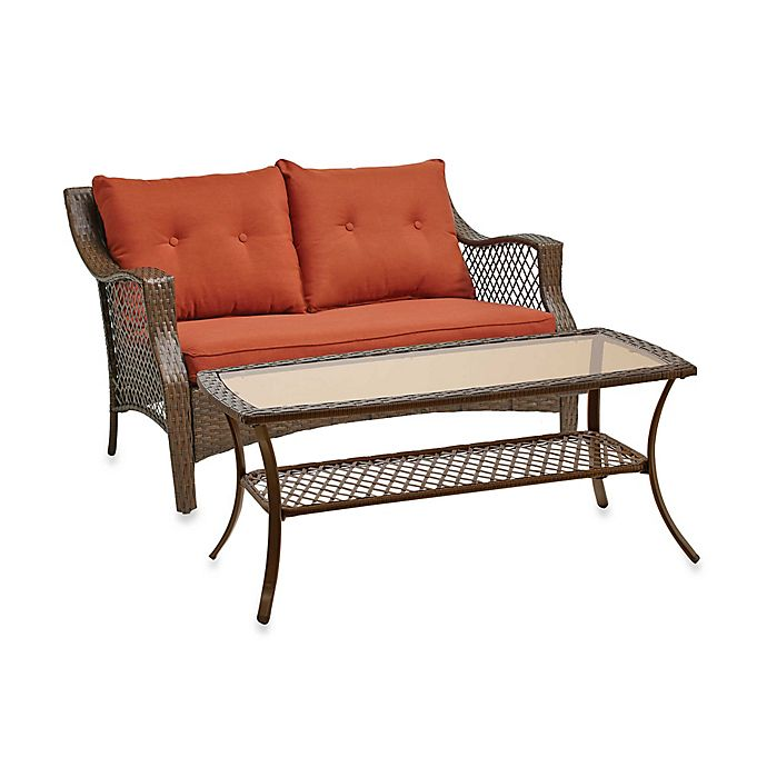 Alternate image 1 for Stratford 2-Piece Wicker Loveseat Set