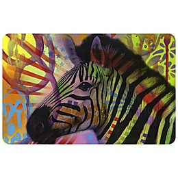 "FoFlor New Zebra 23"" x 36"" Kitchen Mat in Green"