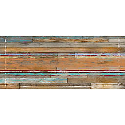 FoFlor Cleveland Wood Kitchen Mat in Aqua/Brown