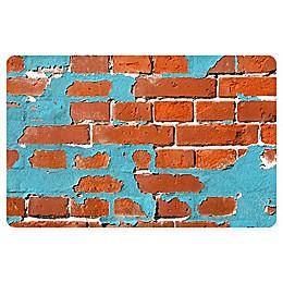 FoFlor Painted Brick Kitchen Mat in Aqua