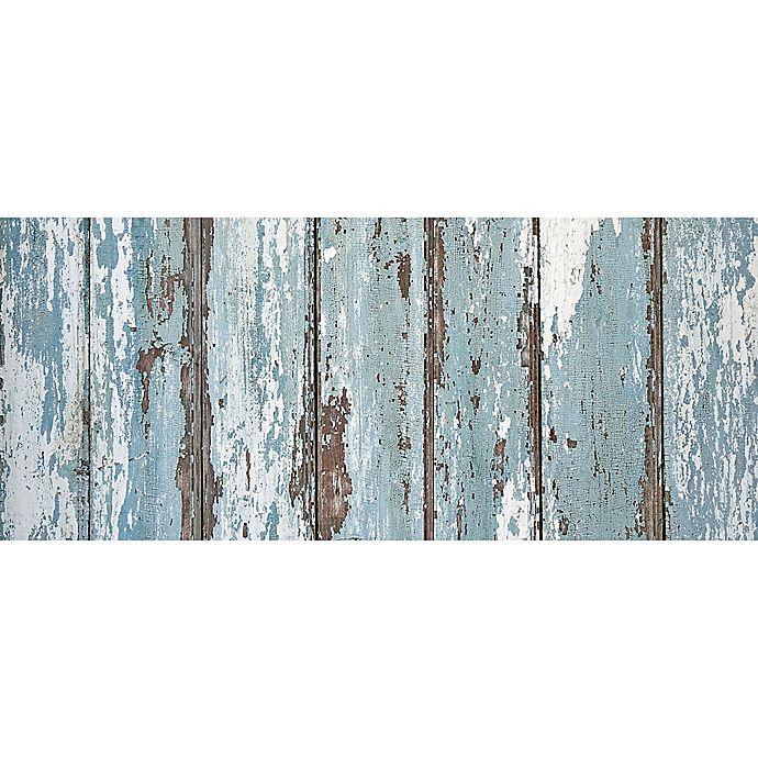 Alternate image 1 for FoFlor Rustic Painted Floor Kitchen Mat in Aqua/Brown