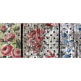 FoFlor Floral Woodgrain Kitchen Mat in Pink/Blue