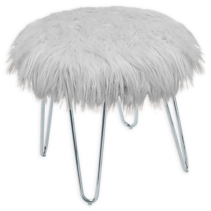 Alternate image 1 for Faux Fur Ottoman