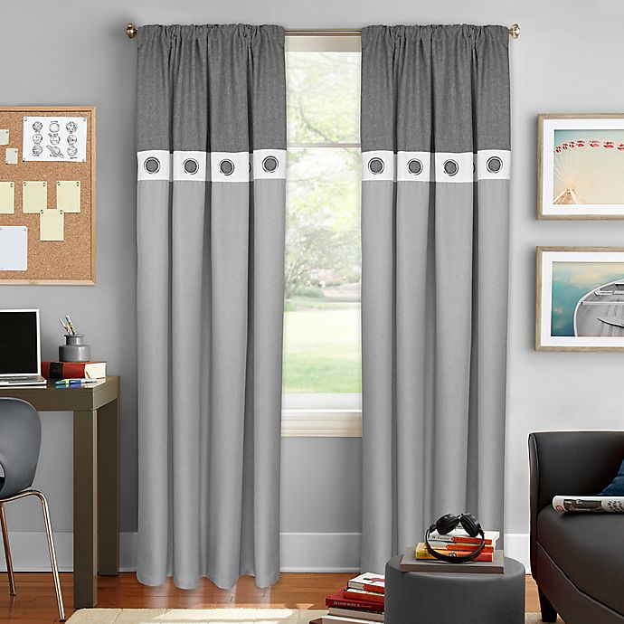 Alternate image 1 for Colordrift Wallace 63-Inch Rod Pocket Room Darkening Window Curtain Panel in Grey