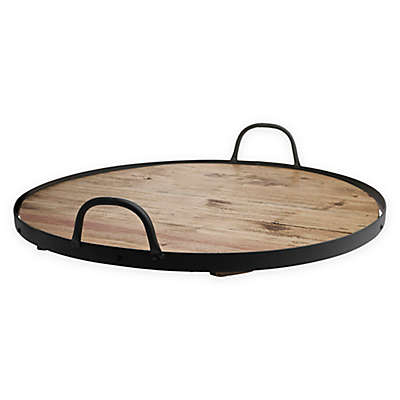 Down To Earth Round Barrel Lazy Susan in Light Brown with Iron Rim and Handles