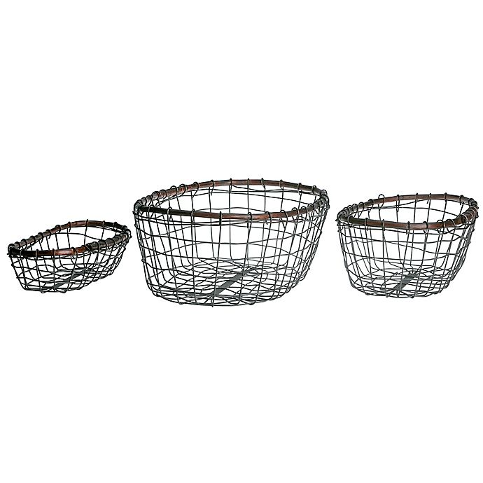 Alternate image 1 for Down To Earth 3-Piece Oval Wire Basket Set in Silver/Dark Grey with Rattan Trim