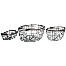 Down To Earth 3-Piece Oval Wire Basket Set in Silver/Dark Grey with Rattan Trim