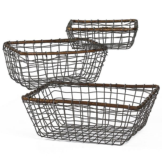 Alternate image 1 for Down To Earth 3-Piece Rectangular Wire Basket Set in Silver/Dark Grey with Rattan Trim