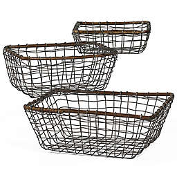 Down To Earth 3-Piece Rectangular Wire Basket Set in Silver/Dark Grey with Rattan Trim