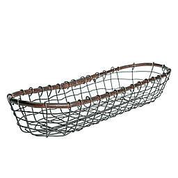 Down To Earth 20-Inch Bread Basket in Silver/Dark Grey with Rattan Trim