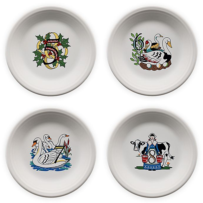 Alternate image 1 for Fiesta® Twelve Days of Christmas Day 5-8 Salad Plates in White (Set of 4)