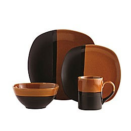 Over and Back® Rio 16-Piece Dinnerware Set in Black/Amber