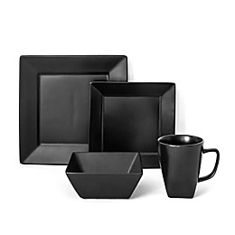 Over and Back® Hard Square 16-Piece Dinnerware Set in Black