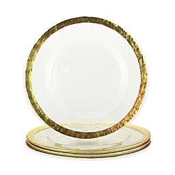Charger It By Jay 4-Piece Hammered Charger Plate Set in Gold/Clear
