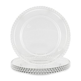 Charger It By Jay 4-Piece Aflair Beaded Charger Plate Set in Clear