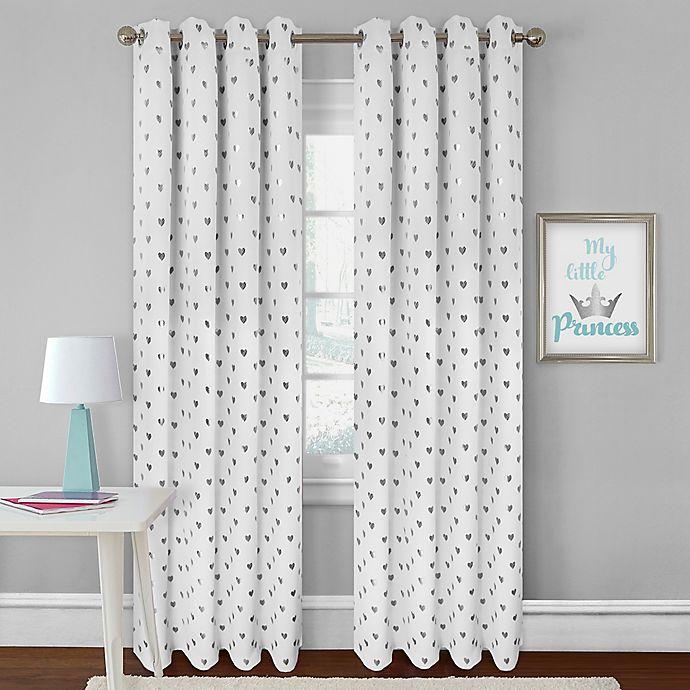 Alternate image 1 for Colordrift Heart 84-Inch Rod Pocket Room Darkening Window Curtain Panel in White