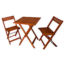 Décor Therapy Oasis 3-Piece Outdoor Square Folding Table with Chairs