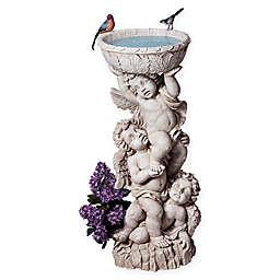 Design Toscano 3 Cherubs Bird Bath in Antique White