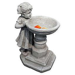 Design Toscano Georgina's Garden Gaze Child Bird Bath in Stone