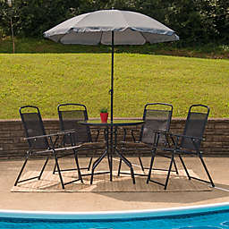 Flash Furniture 6-Piece Outdoor Patio Table Set with Umbrella in Black