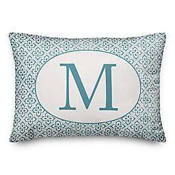Designs Direct Monogram Indoor/Outdoor Oblong Throw Pillow in Faded Blue