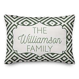 Designs Direct Monogram Ikat Indoor/Outdoor Oblong Throw Pillow in Green
