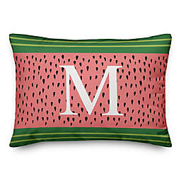 Designs Direct Monogram Stripes Indoor/Outdoor Oblong Throw Pillow in Watermelon