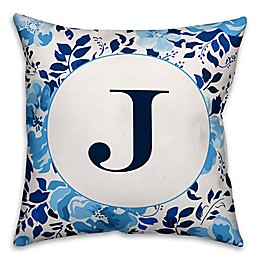 Designs Direct Floral Indoor/Outdoor Square Pillow in Blue/White