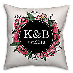 Designs Direct Floral Wreath Indoor/Outdoor Square Throw Pillow