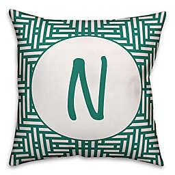 Designs Direct Aztec Monogram Indoor/Outdoor Throw Pillow in Teal